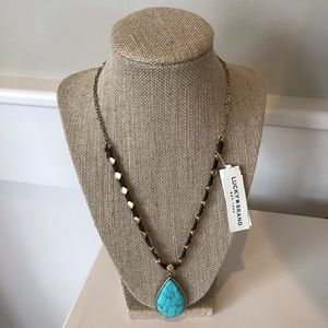 Lucky Brand Leather & Turquoise Necklace